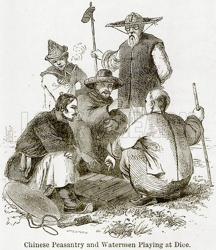 Chinese Peasantry and Watermen playing at Dice. Illustration from The World As It Is by George Chisholm (Blackie, 1884).