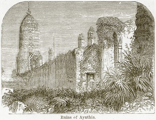 Ruins of Ayuthia. Illustration from The World As It Is by George Chisholm (Blackie, 1884).