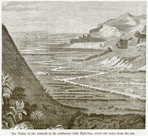 The Valley of the Irawadi at its confluence with Myit-Nge, about 650 miles from the Sea. Illustration from The World As It Is by George Chisholm (Blackie, 1884).