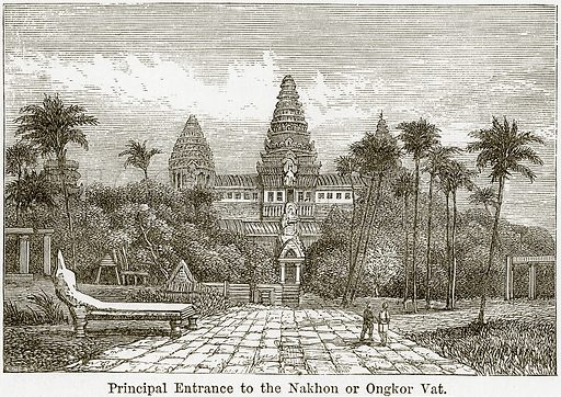 Principal Entrance to the Nakhon or Ongkor Vat. Illustration from The World As It Is by George Chisholm (Blackie, 1884).
