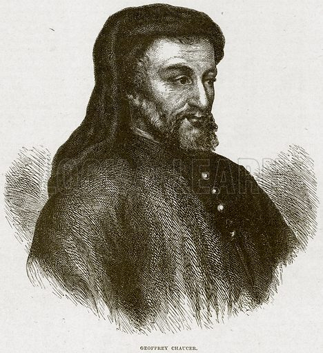 Geoffrey Chaucer. Illustration from Cassell's History of England (special edition, AW Cowan, c 1890).