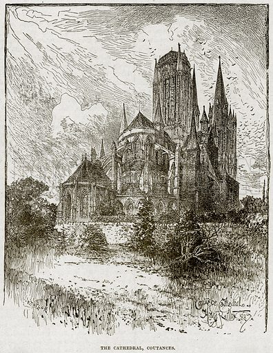The Cathedral, Coutances. Illustration from Cassell's History of England (special edition, AW Cowan, c 1890).