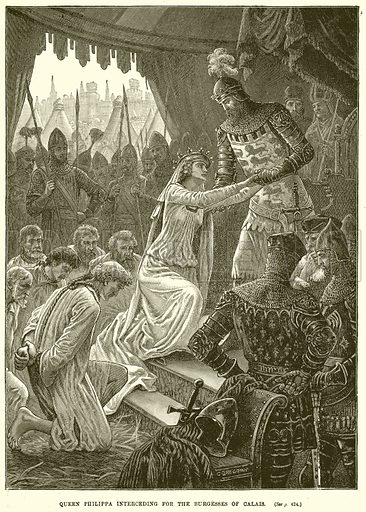 Queen Philippa interceding for the Burgesses of Calais. Illustration from Cassell's History of England (special edition, A W Cowan, c 1890).
