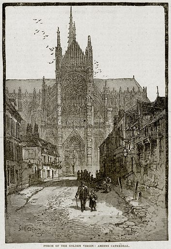 Porch of the Golden Virgin: Amiens Cathedral. Illustration from Cassell's History of England (special edition, AW Cowan, c 1890).