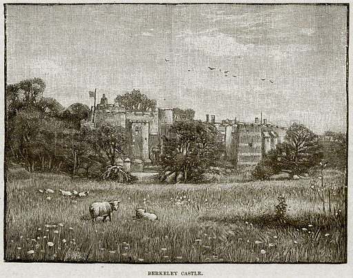 Berkeley Castle. Illustration from Cassell's History of England (special edition, AW Cowan, c 1890).