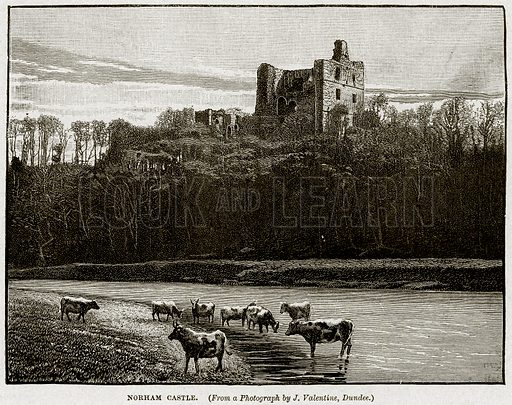 Norham Castle. Illustration from Cassell's History of England (special edition, AW Cowan, c 1890).