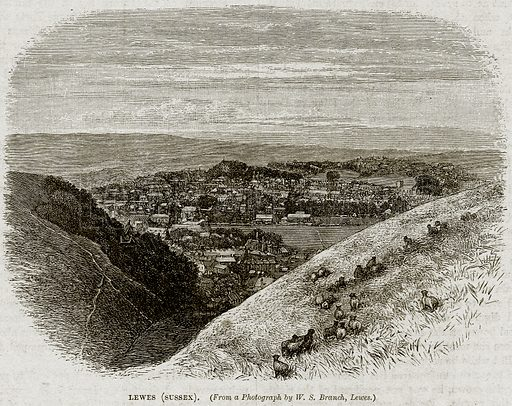 Lewes (Sussex). Illustration from Cassell's History of England (special edition, AW Cowan, c 1890).