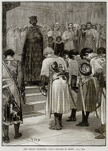 The Barons submitting their Demands to Henry. Illustration from Cassell's History of England (special edition, AW Cowan, c 1890).