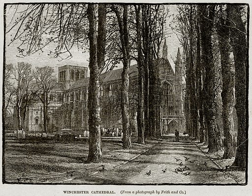 Winchester Cathedral. Illustration from Cassell's History of England (special edition, AW Cowan, c 1890).