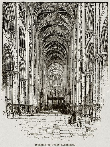 Interior of Rouen Cathedral. Illustration from Cassell's History of England (special edition, AW Cowan, c 1890).