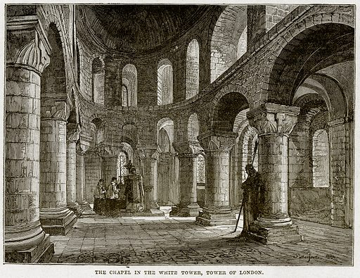 The Chapel in the White Tower. Tower of London. Illustration from Cassell's History of England (special edition, AW Cowan, c 1890).