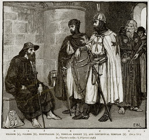 Pilgrim (A), Plamer (D), Hospialler (B), Templar Knight (C), and Conventual Templar (E). Illustration from Cassell's History of England (special edition, AW Cowan, c 1890).