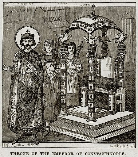 Throne of the Emperor of Constantinople. Illustration from Cassell's History of England (special edition, AW Cowan, c 1890).
