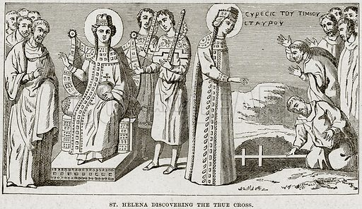 St Helena discovering the True Cross. Illustration from Cassell's History of England (special edition, AW Cowan, c 1890).