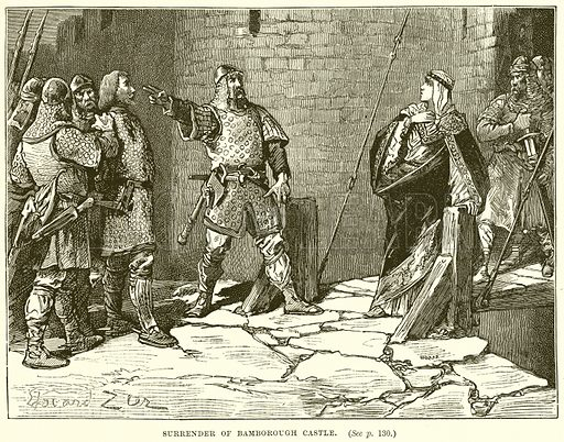 Surrender of Bamborough Castle. Illustration from Cassell's History of England (special edition, AW Cowan, c 1890).
