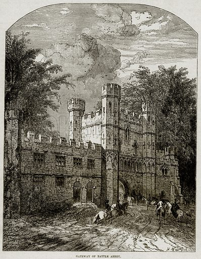 Gateway of Battle Abbey. Illustration from Cassell's History of England (special edition, AW Cowan, c 1890).