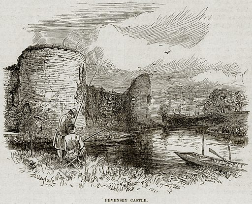 Pevensey Castle. Illustration from Cassell's History of England (special edition, AW Cowan, c 1890).