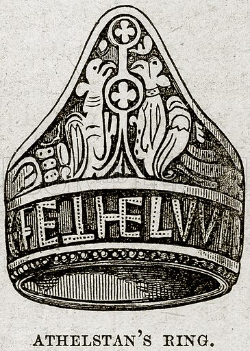 Athelstan's Ring. Illustration from Cassell's History of England (special edition, A W Cowan, c 1890).