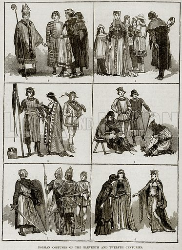 Norman Costumes of the Eleventh and Twelfth Centuries. 1. Bishops and Barons (11th Century). 2. Noble Ladies and Citizens (11th Century). 3. Prince, Princess, and Cross-Bowman (11th Century). 4. Artisans and Artificers (11th Century). 5. Military Costumes of the 12th Century. 6. Noble Ladies of Normandy (12th Century). Illustration from Cassell's History of England (special edition, AW Cowan, c 1890).