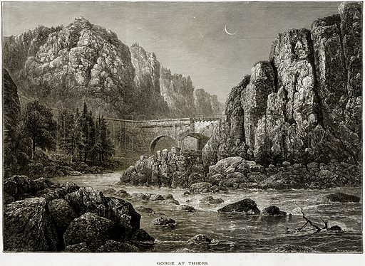 Gorge at Thiers. Illustration from Picturesque Europe (Cassell, c 1880).