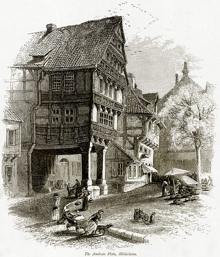The Andreas Platz, Hildesheim. Illustration from Picturesque Europe (Cassell, c 1880).