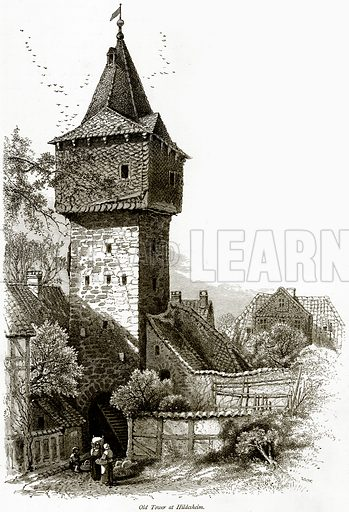 Old Tower at Hildesheim. Illustration from Picturesque Europe (Cassell, c 1880).
