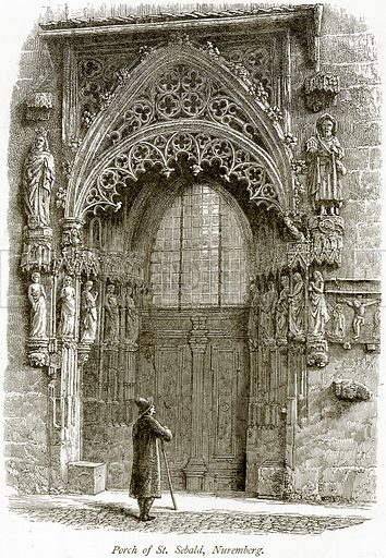 Porch of St Sebald, Nuremberg. Illustration from Picturesque Europe (Cassell, c 1880).