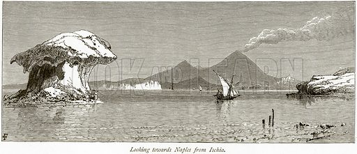 Looking towards Naples from Ischia. Illustration from Picturesque Europe (Cassell, c 1880).