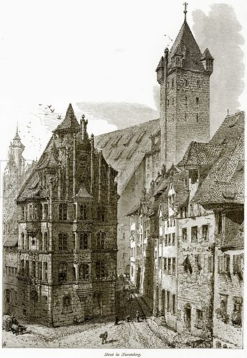Street in Nuremberg. Illustration from Picturesque Europe (Cassell, c 1880).
