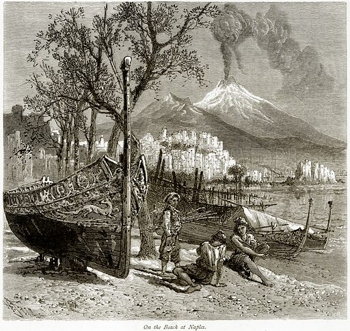 On the Beach at Naples. Illustration from Picturesque Europe (Cassell, c 1880).