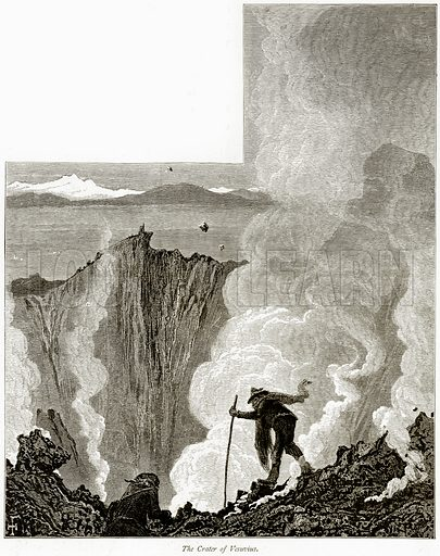 The Crater of Vesuvius. Illustration from Picturesque Europe (Cassell, c 1880).