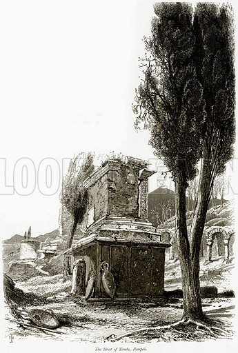 The Street of Tombs, Pompeii. Illustration from Picturesque Europe (Cassell, c 1880).
