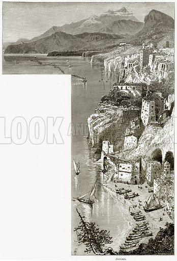 Sorrento. Illustration from Picturesque Europe (Cassell, c 1880).