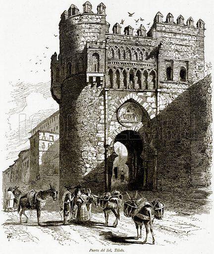 Puerta del Sol, Toledo. Illustration from Picturesque Europe (Cassell, c 1880).