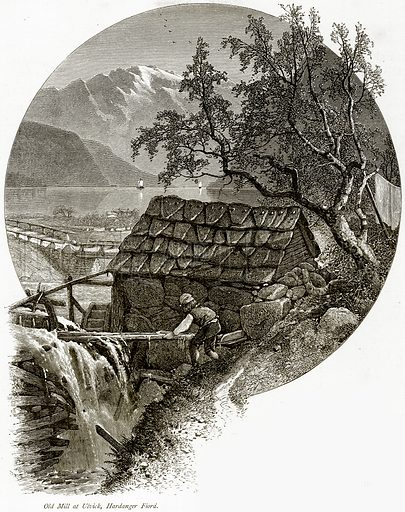 Old Mill at Ulvick, Hardanger Fiord. Illustration from Picturesque Europe (Cassell, c 1880).