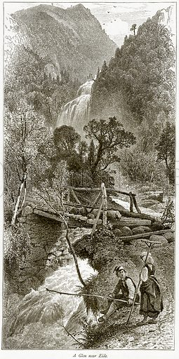 A Glen near Eide. Illustration from Picturesque Europe (Cassell, c 1880).