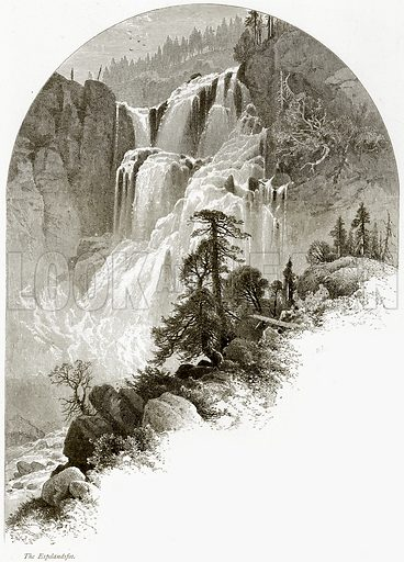 The Espelandsfos. Illustration from Picturesque Europe (Cassell, c 1880).