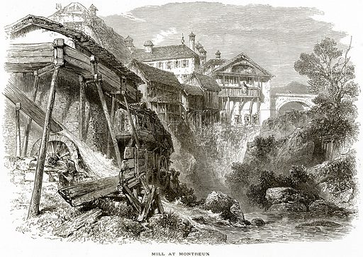 Mill at Montreux. Illustration from Picturesque Europe (Cassell, c 1880).