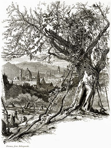 Florence, from Bellosguardo. Illustration from Picturesque Europe (Cassell, c 1880).