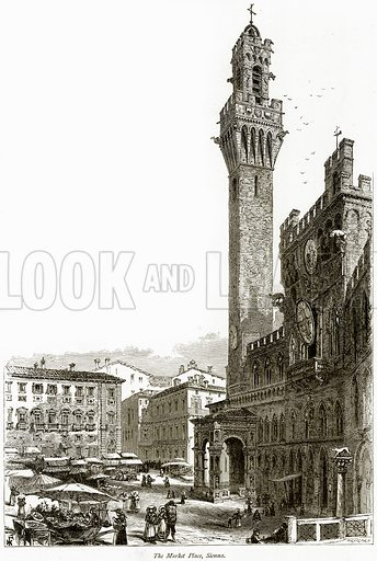 The Market Place, Sienna. Illustration from Picturesque Europe (Cassell, c 1880).