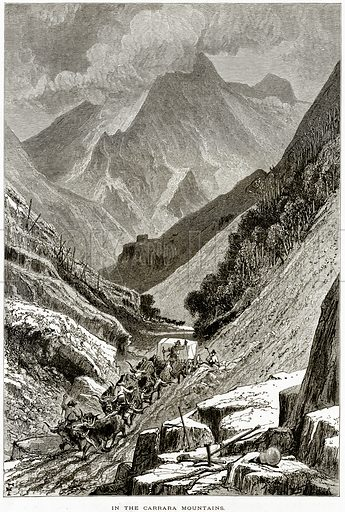 In the Carrara Mountains. Illustration from Picturesque Europe (Cassell, c 1880).