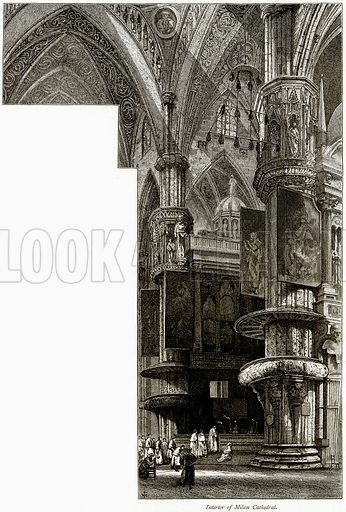Interior of Milan Cathedral. Illustration from Picturesque Europe (Cassell, c 1880).