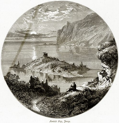 Portelet Bay, Fersey. Illustration from Picturesque Europe (Cassell, c 1880).