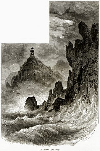 The Corbiere Light, Fersey. Illustration from Picturesque Europe (Cassell, c 1880).