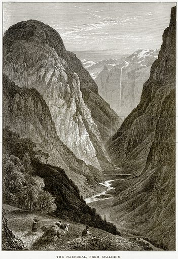 The Naerodal, from Stalheim. Illustration from Picturesque Europe (Cassell, c 1880).