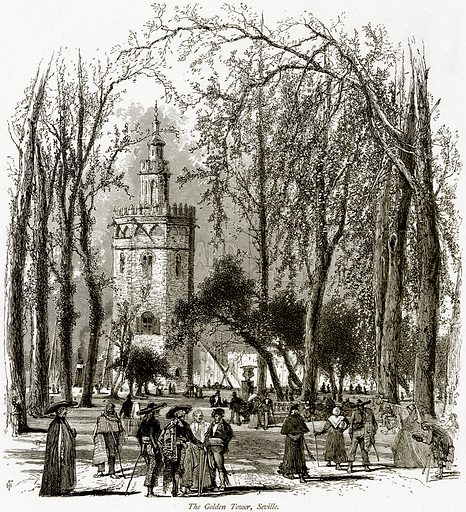 The Golden Tower, Seville. Illustration from Picturesque Europe (Cassell, c 1880).