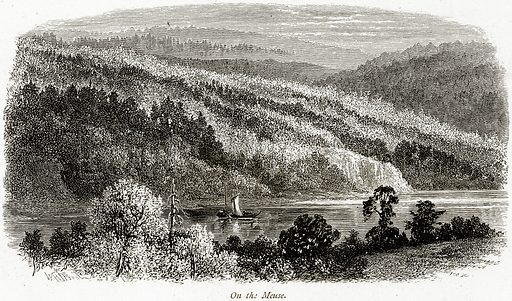 On the Meuse. Illustration from Picturesque Europe (Cassell, c 1880).