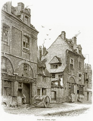 Under the Chateau, Dieppe. Illustration from Picturesque Europe (Cassell, c 1880).