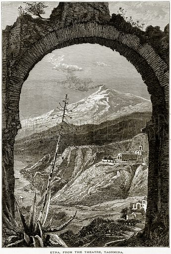 Etna, from the Theatre, Taormina. Illustration from Picturesque Europe (Cassell, c 1880).