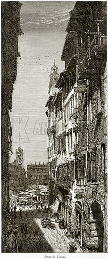 Street in Verona. Illustration from Picturesque Europe (Cassell, c 1880).